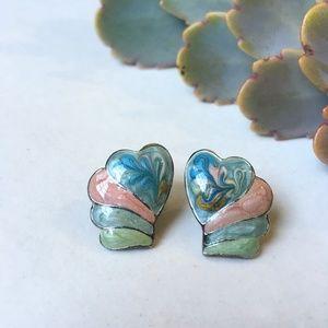 80's 90's VTG Pastel Scalloped Post Earrings